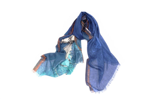 The Majestic Flower Scarf in Silk and Cashmere ( Blue )