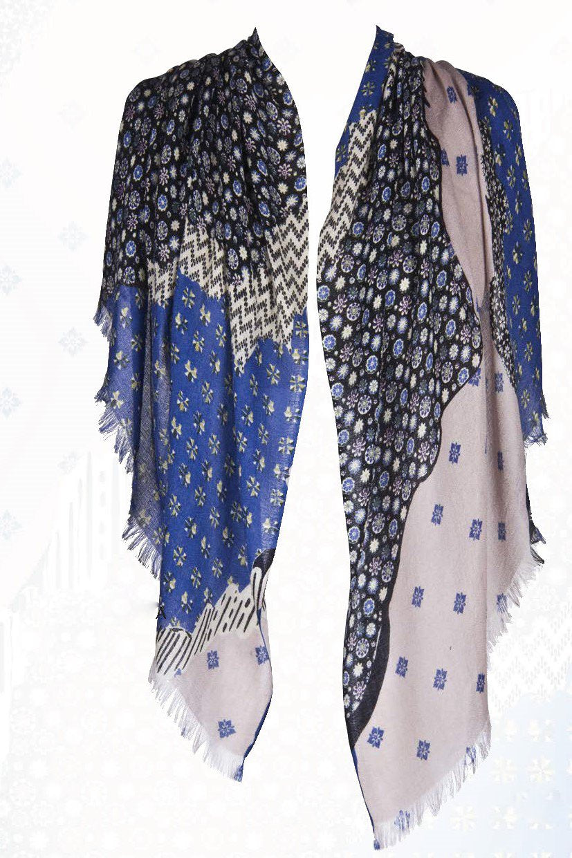 Matisse Printed Scarf in Silk and Cashmere ( Blue ) - Pashma Outlet