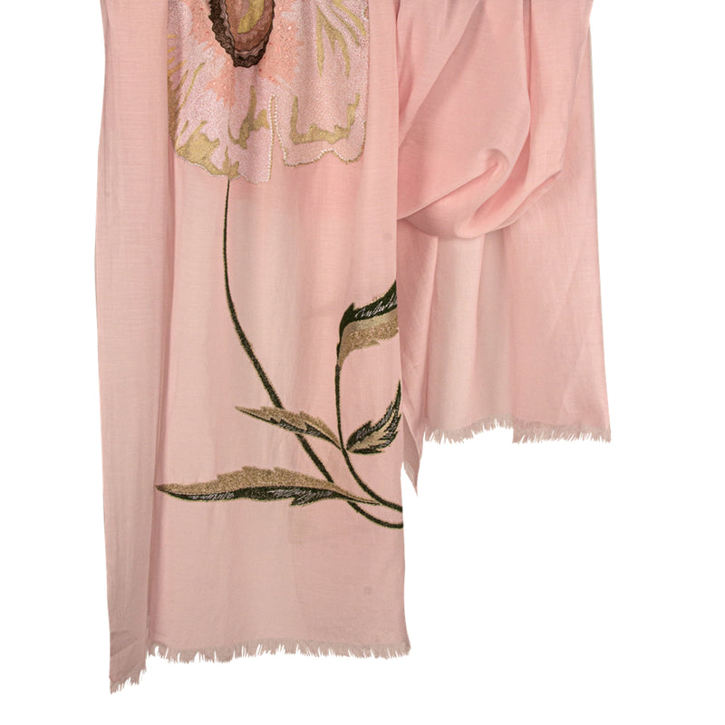 Soft Pink Silk Cotton With Large Applique Scarf