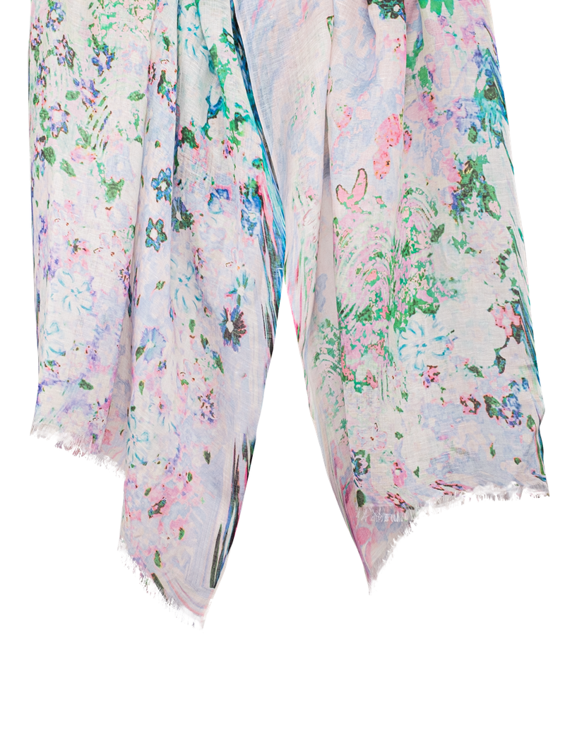 Pashma White Floral print scarf made in Silk Linen