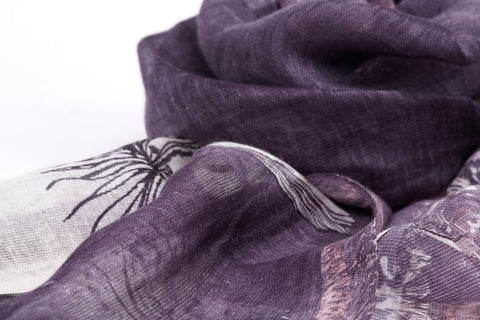 The Majestic Flower Scarf in Silk, Linen and Cashmere ( Mauve )