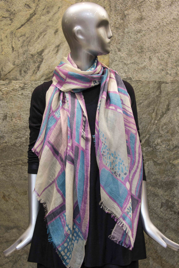 Multicolored Trans-seasonal Scarf in Lilac-Turquoise