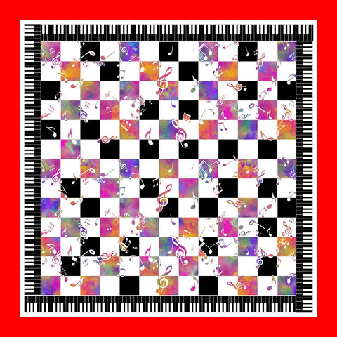 Musical Chessboard Pocket Square in Silk