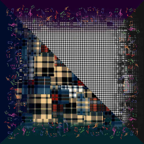 The Musical Tartans and The Houndstooth Pocket Square in Silk