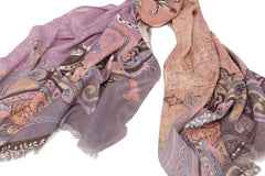Progressive Culture Scarf ( Lavender and Peach ) in Silk and Cashmere