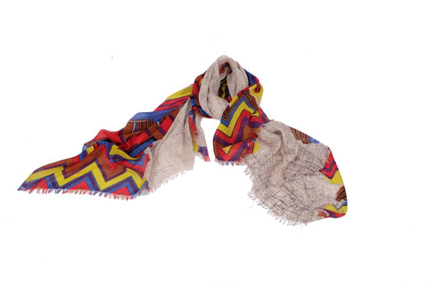 Psychedelic Waves Scarf in Silk and Cashmere