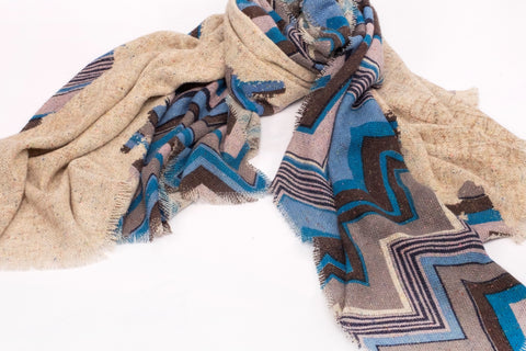 Psychedelic Waves Scarf in Silk, Wool and Cashmere