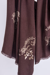 PASHMA EMBROIDERED PAISLEY MOTIF SCARF CRAFTED IN SILK CASHMERE