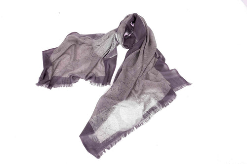 Convoluted Stripes Scarf in Silk and Cashmere ( mauve )