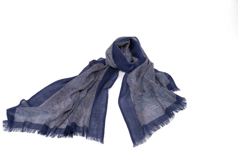 Convoluted Stripes Scarf in Silk and Cashmere ( blue )