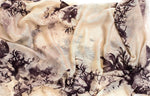 Washed Out Floral Scarf ( Beige and Black )
