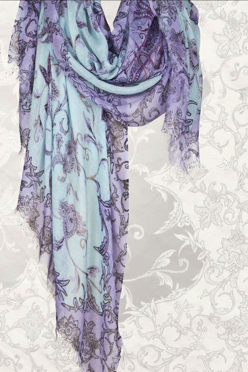 Persian Poetry Floral Scarf in Silk and Cashmere ( Pastel ) - Pashma Outlet