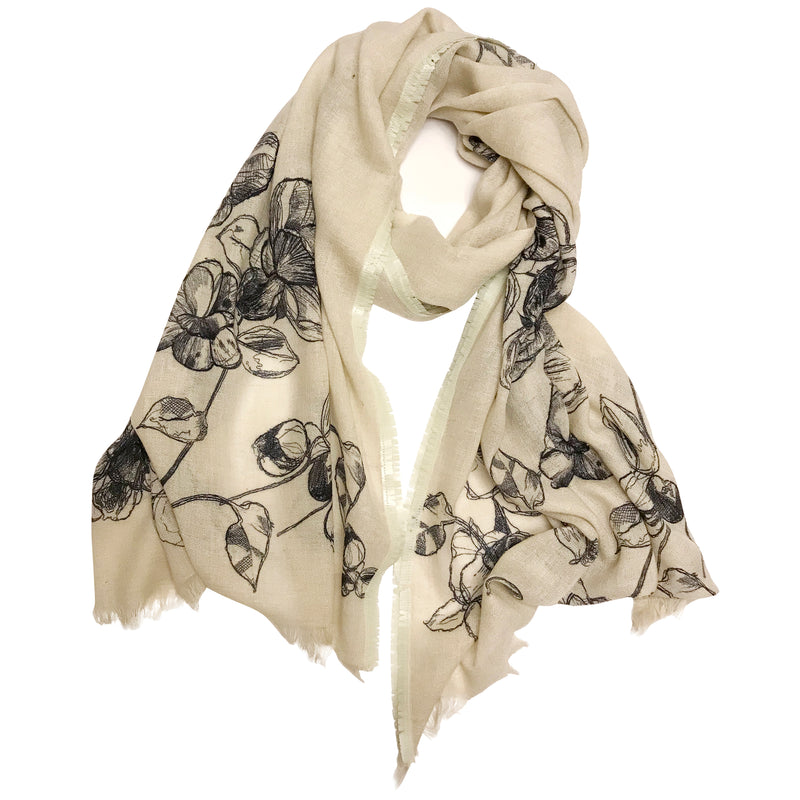 Black And White Embroidered Scarf