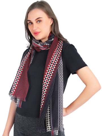 Pashma Herringbone printed scarf crafted in Silk Wool Cashmere