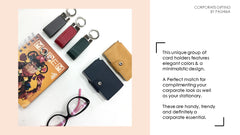 Pashma unique group of card holders features elegant colors & a minimalist design, Unique click button to secure your cards inside the holder.
