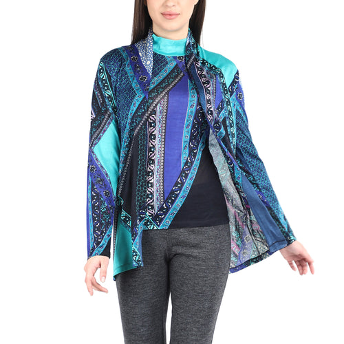 Pashma Blue Silk Cashmere Cardigan Set With Abstract Print