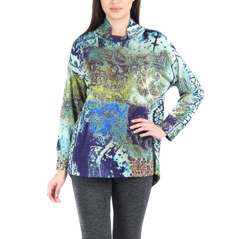 Pashma Blue Silk Cashmere Turtle Neck Tee With Leaf Print