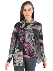 Pashma Black Silk Cashmere Cardigan set  with paisley print.