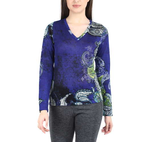 Pashma Blue Silk Wool Cashmere V-Neck With Paisley Print