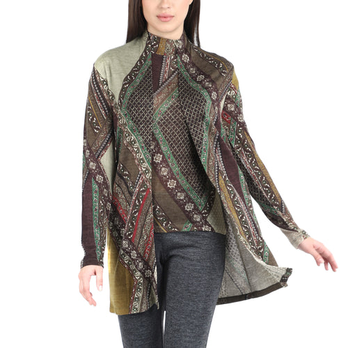 Pashma Brown Silk Wool Cashmere Cardigan Set With Abstract Print