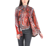 Pashma Orange Silk Wool Cashmere Cardigan set with paisley print