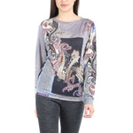 Pashma Purple Silk Wool Cashmere Sweatshirt With Paisley Print