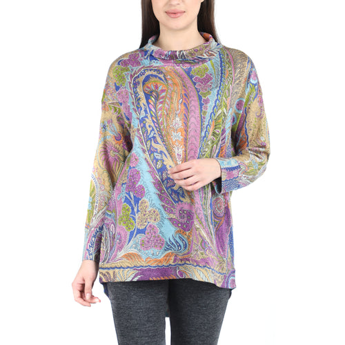 Pashma Purple Silk Wool Cashmere Turtle Neck Tee With Pasiley Print