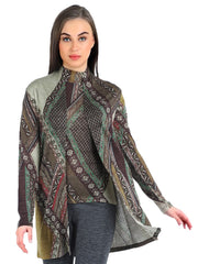 Pashma Brown  Silk Wool Cashmere Cardigan set  with abstract print.
