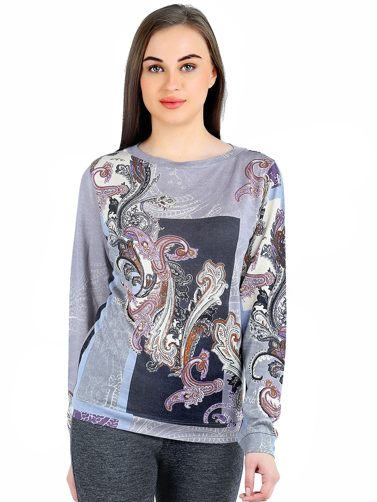 Pashma Purple Silk Wool Cashmere Sweatshirt with paisley print.