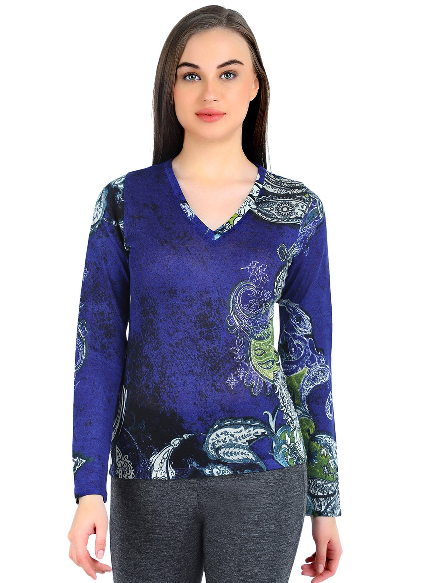 Pashma Blue Silk Wool Cashmere V- Neck with paisley print.
