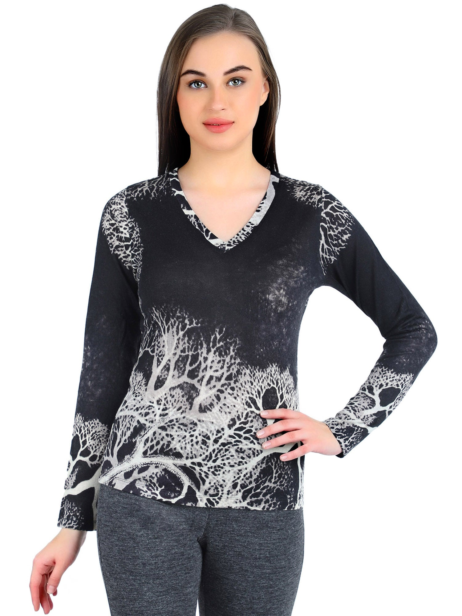 Pashma Black Silk Wool Cashmere V- Neck tee with tree print.