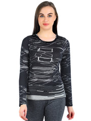 Pashma Black Silk Wool Cashmere Crew Neck tee with abstract print.