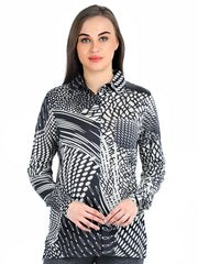 Pashma Black Silk wool Cashmere Shirt with abstract print.