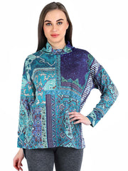 Pashma Blue Silk Wool Cashmere Turtle Neck tee with Abstract print