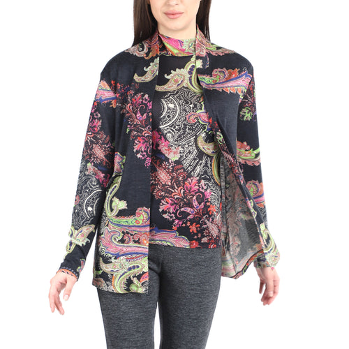 Pashma Black Silk Cardigan Set  with Paisley Print