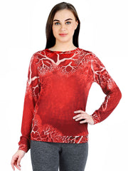 Pashma Red  Silk Cashmere Sweatshirt with tree print.