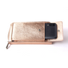 Pashma Rose Gold Finest Metallic Italian Leather wallet with mobile holder