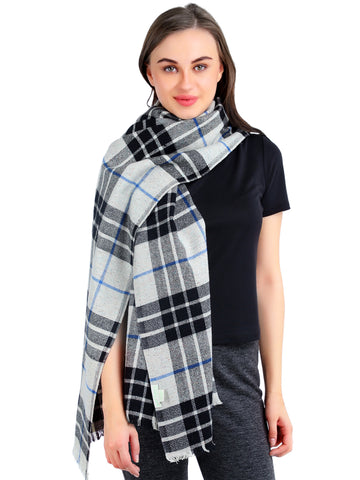 Pashma Black, Ivory, Blue Plaid Scarf Crafted in Silk Wool Cashmere