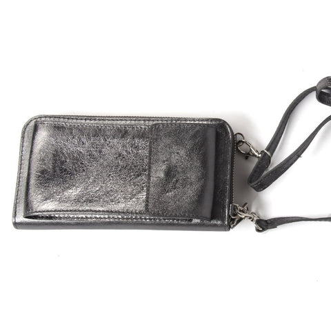 Pashma Dark Grey Finest Metallic Italian Leather wallet with mobile holder