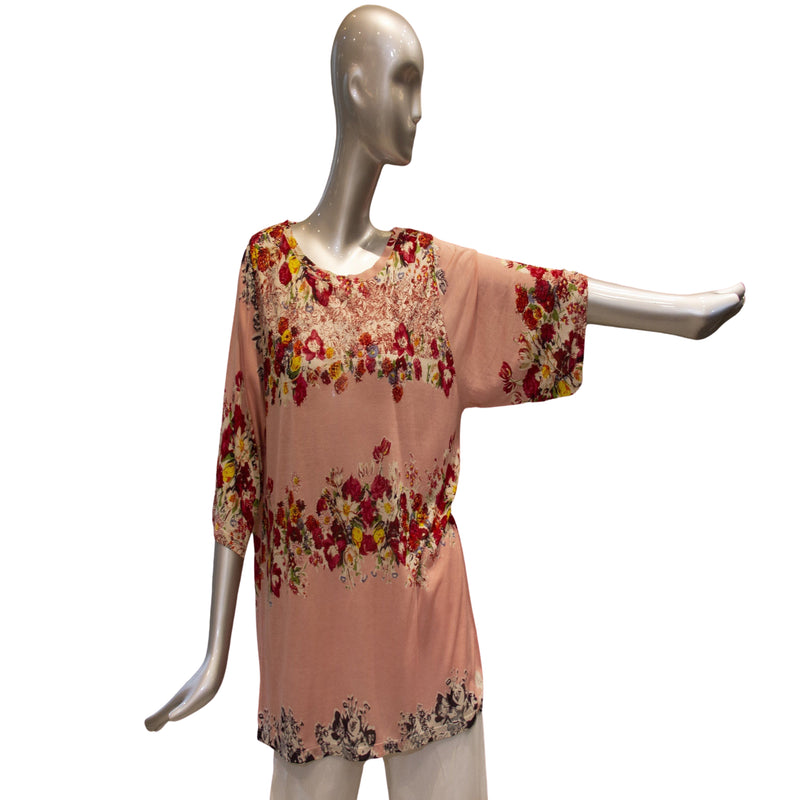 Pesca Floral Silk Luxury T-Shirt