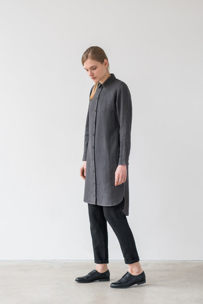 Ida shirt dress in charcoal gray