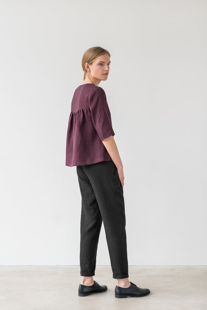 Frances top in burgundy