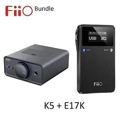 FiiO K5 Desktop Amp/Dock + E17K Portable Headphone Amplifer/DAC BUNDLE - AV Shop UK - 1