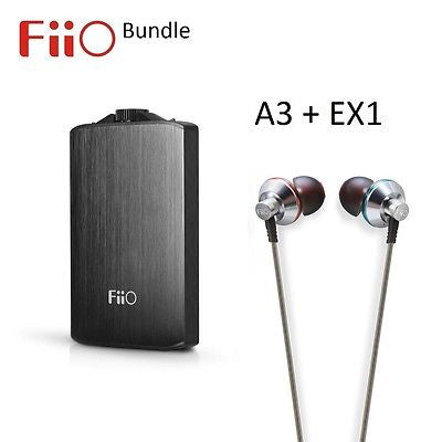 FiiO A3 Portable Headphone Amplifier + EX1 In-Ear Monitor Headphones BUNDLE - AV Shop UK - 1
