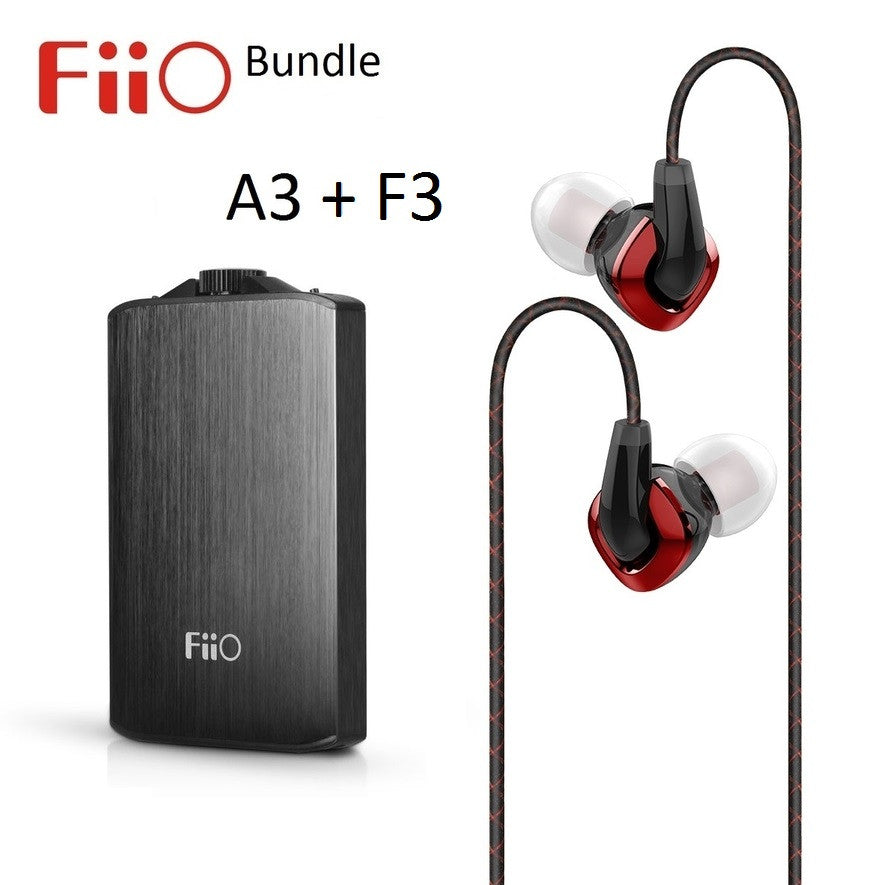 FiiO A3 Portable Headphone Amplifier + F3 Dynamic In-Ear Monitor Headphone BUNDLE