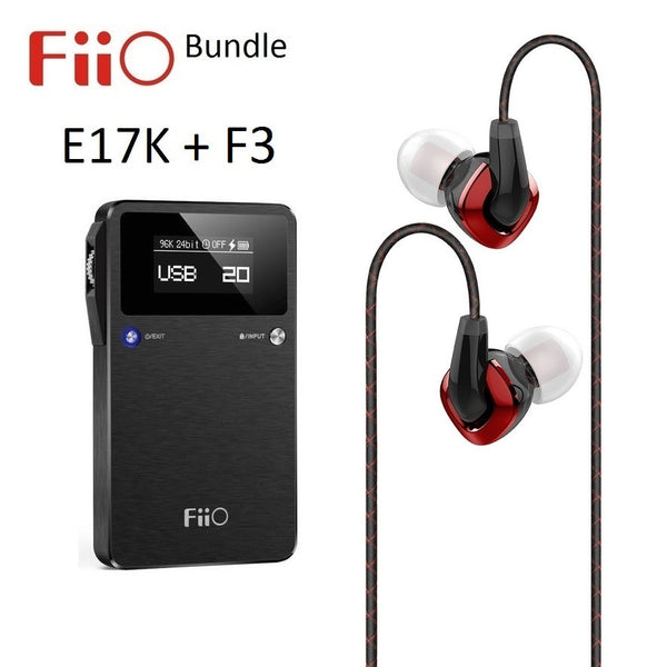FiiO E17K Portable Headphone Audio Amplifier/DAC + F3 IEM headphones BUNDLE