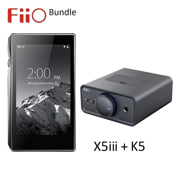 FiiO X5iii 3rd Gen Lossless Audio (WAV/FLAC) DAP/DAC+K5 Desktop Amp/Dock BUNDLE