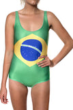 Brazil Flag One Piece Bodysuit Women's - Rave Nations