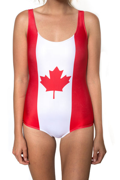 Canada Flag One Piece Bodysuit Women's - Rave Nations