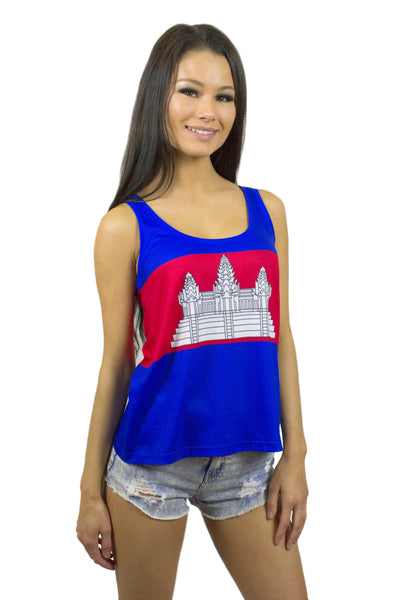Cambodia Flag Tank Top Women's - Rave Nations
